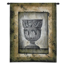 Cas Antico II | Woven Tapestry Wall Art Hanging | Intricate Statuesque Roman Vase Centerpiece | 100% Cotton USA Size 32x27 Wall Tapestry