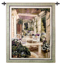 Vintage Comfort by Betsy Brown | Woven Tapestry Wall Art Hanging | Exquisite Floral Country Porch Scene in Green and Burgundy | 100% Cotton USA Size 53x42 Wall Tapestry