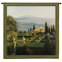 Villa d'Orcia by Max Hayslette | Woven Tapestry Wall Art Hanging | Villa Courtyard with Lush European Landscape | 100% Cotton USA Size 35x35 Wall Tapestry