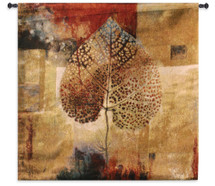Abstract Autumn by Jae Dougall | Woven Tapestry Wall Art Hanging | Warm Fall Maple Leaf Artwork | 100% Cotton USA Size 52x50 Wall Tapestry