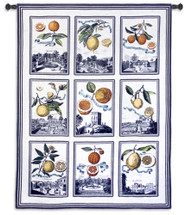 Fruit Study White | Woven Tapestry Wall Art Hanging | Colorful Citrus on Nine City Patch Panels | 100% Cotton USA Size 70x53 Wall Tapestry