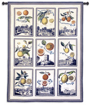 Fruit Study Natural | Woven Tapestry Wall Art Hanging | Colorful Citrus on Nine City Patch Panels | 100% Cotton USA Size 70x53 Wall Tapestry