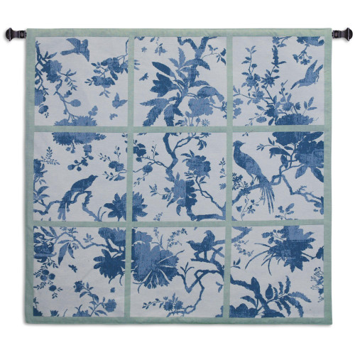 Floral Division Blue and Green | Woven Tapestry Wall Art Hanging | Silhouetted Tropical Birds and Plants Panel Artwork | 100% Cotton USA Size 44x41 Wall Tapestry