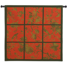 Floral Division Red Gold Black | Woven Tapestry Wall Art Hanging | Nine Panel Textile Artwork With An Asian Tropical Birds In Silhouette 100% Cotton USA 41x44 Wall Tapestry