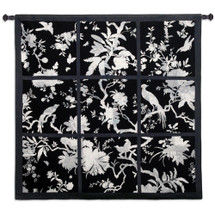 Floral Division Black And White - Woven Tapestry Wall Art Hanging For Home Living Room & Office Decor - Silhouette Asian Black White Blooming Trees Birds - 100% Cotton - USA 41X44 Wall Tapestry