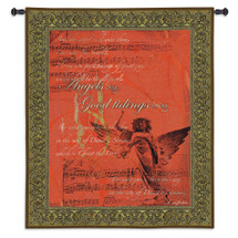 Angels Sing | Woven Tapestry Wall Art Hanging | Music Sheet Music in Rich Red | 100% Cotton USA Size 53x42 Wall Tapestry