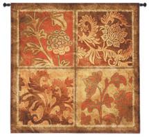 Botanical Scroll   Woven Tapestry Wall Art Hanging   Floral Metallic Filigree Panels Pattern Art   100% Cotton USA Size 44x44 Wall Tapestry