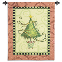 Christmas Topiary by Vivian Eisner | Woven Tapestry Wall Art Hanging | Festive Tree Holiday Decor | 100% Cotton USA Size 53x41 Wall Tapestry