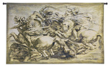 The Battle of Anghiari by Leonardo da Vinci | Woven Tapestry Wall Art Hanging | Armored Warriors and Warhorses Renaissance Masterpiece | 100% Cotton USA Size 62x38 Wall Tapestry