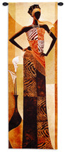 Amira By Keith Mallett - Woven Tapestry Wall Art Hanging For Home Living Room & Office Decor - Rich Warm Tones Accompany Elegant African Woman In Pose - 100% Cotton - USA 48X16 Wall Tapestry