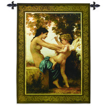 Young Girl Defending Herself against Eros   Woven Tapestry Wall Art Hanging   Lush Cupid Scene under Maple Tree   100% Cotton USA Size 52x37 Wall Tapestry
