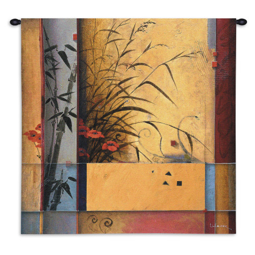 Bamboo Division by Don Li Leger   Woven Tapestry Wall Art Hanging   Abstract Asian Geometric Bamboo Artwork   100% Cotton USA Size 31x31 Wall Tapestry