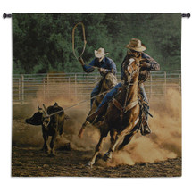 Roping on the Ranch III by Robert Duncan | Woven Tapestry Wall Art Hanging | Realistic Cowboy Cattle Roping Scene | 100% Cotton USA Size 53x53 Wall Tapestry