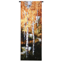 Fine Art Tapestries Autumn Birch Falls Hand Finished European Style Jacquard Woven Wall Tapestry  USA Size 76x26 Wall Tapestry