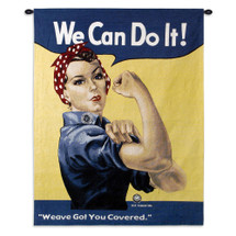 Rosie Riveter | Woven Tapestry Wall Art Hanging | Classic WWII Symbolic Woman Factory Worker | 100% Cotton USA Size 53x38 Wall Tapestry