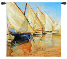 White Sails I by Jaume Laporta | Woven Tapestry Wall Art Hanging | Sailboats on Seascape Harbor Nautical Artwork | 100% Cotton USA Size 54x53 Wall Tapestry