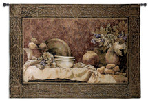 Rustic Reflections by Linda Thompson | Woven Tapestry Wall Art Hanging | Floral Dining Still Life | 100% Cotton USA Size 53x38 Wall Tapestry