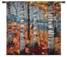 Border View by Graham Forsythe | Woven Tapestry Wall Art Hanging | Impressionistic Warm Autumn Birch Landscape | 100% Cotton USA Size 53x53 Wall Tapestry
