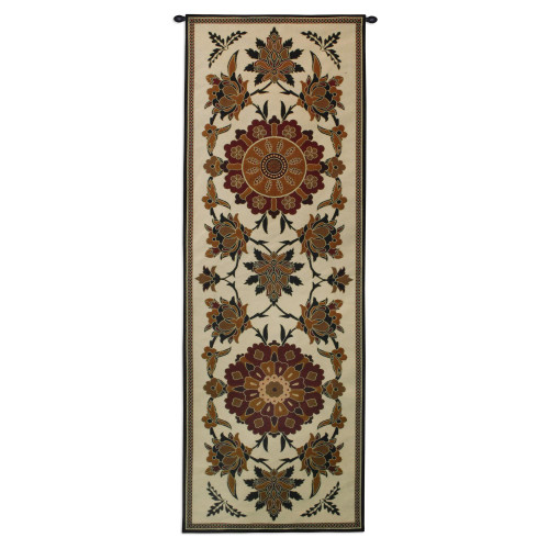 Gypsy Robe By Suzani  - Woven Tapestry Wall Art Hanging For Home Living Room & Office Decor - Earth Toned Decorative Tribal Motif With Central Asian And Persian Patterns - 100% Cotton - USA 77X26 Wall Tapestry