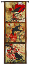 Autumn's Perch | Woven Tapestry Wall Art Hanging | Bird Silhouettes on Fiery Background Panel Artwork | 100% Cotton USA Size 80x53 Wall Tapestry