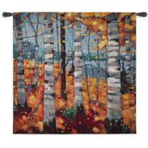 Border View by Graham Forsythe | Woven Tapestry Wall Art Hanging | Impressionistic Warm Autumn Birch Landscape | 100% Cotton USA Size 44x44 Wall Tapestry