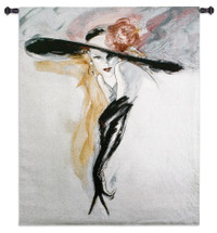 Black Gloves by Richard Ely | Woven Tapestry Wall Art Hanging | Semi Illustrative Woman with Brimmed Hat | 100% Cotton USA Size 53x46 Wall Tapestry