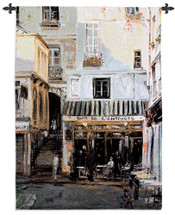 Bardel Entracte By George Bates | Woven Tapestry Wall Art Hanging | European French Cafe Street View | 100% Cotton USA 53X38 Wall Tapestry