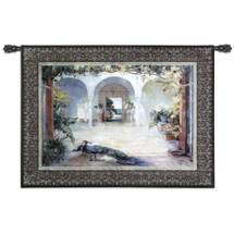 Sunlit Courtyard By Wei Haibin - Woven Tapestry Wall Art Hanging For Home Living Room & Office Decor - A Peacock And His Lady Rule A Mediterranean-Style Conservatory - 100% Cotton - USA 38X52 Wall Tapestry