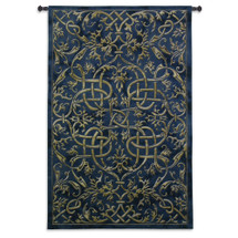 Porte Azur | Woven Tapestry Wall Art Hanging | Golden Lines on Indigo Background Intricate Scrollwork Design | 100% Cotton USA Size 79x53 Wall Tapestry