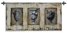 Vases Romanies II | Woven Tapestry Wall Art Hanging | Roman Themed Stone Urns Panel Artwork | 100% Cotton USA Size 53x26 Wall Tapestry