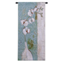 Spa Orchid | Woven Tapestry Wall Art Hanging | Orchids in Vase with Soft Abstract Tones | 100% Cotton USA Size 52x27 Wall Tapestry