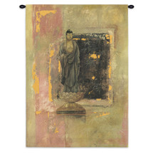 Golden Bamboo | Woven Tapestry Wall Art Hanging | Worn Stone Figure with Window into Forest | 100% Cotton USA Size 52x38 Wall Tapestry