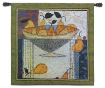 Asian Pears in Bowl | Woven Tapestry Wall Art Hanging | Abstract Rustic Fruit with Caligraphy | 100% Cotton USA Size 54x52 Wall Tapestry