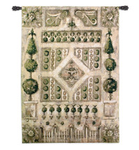 Garden Gate by Liz Jardine | Woven Tapestry Wall Art Hanging | Formal English Courtyard with Fountain Centerpiece | 100% Cotton USA Size 53x38 Wall Tapestry