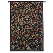 Porte Sienne | Woven Tapestry Wall Art Hanging | Golden Lines on Burgundy Background Intricate Scrollwork Design | 100% Cotton USA Size 79x53 Wall Tapestry