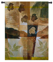 Autumn Medley I by Keith Mallett | Woven Tapestry Wall Art Hanging | Abstract Fall Maple Collage with Sheet Music | 100% Cotton USA Size 53x40 Wall Tapestry
