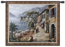 Overlook Cafe Ii By Sung Kim - Woven Tapestry Wall Art Hanging For Home Living Room & Office Decor - Classic Cobblestone Mediterranean Tuscan Village Waterfront Countryside Artwork - 100% Cotton - USA 44X53 Wall Tapestry