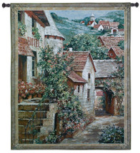 Italian Country Village I by Roger Duvall   Woven Tapestry Wall Art Hanging   Vintage Italian Cobblestone Alley with Hotel   100% Cotton USA Size 62x51 Wall Tapestry