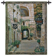 Italian Country Village II by Roger Duvall - Woven Tapestry Wall Art Hanging for Home & Office Decor - Italian Village Street Cobbl of a vintage Candy Store and Drug Store - 100% Cotton - USA 74x55 Wall Tapestry