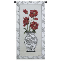 Chinois Tulip | Woven Tapestry Wall Art Hanging | Vibrant Red Flowers in Stark Black and White Vase | 100% Cotton USA Size 53x25 Wall Tapestry