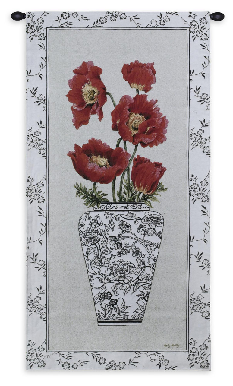 Chinois Poppy Woven Tapestry Wall Art Hanging Vibrant Red Flowers In Stark Black And White Vase 100 Cotton Usa Size 53x25
