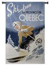 Ski Quebec | Woven Tapestry Wall Art Hanging | Vintage Canadian Whimsical Ski Poster Art | 100% Cotton USA Size 53x33 Wall Tapestry