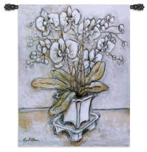 White Orchid by Nicole Etienne | Woven Tapestry Wall Art Hanging | Stark Abstract Orchid Bouquet Still Life | 100% Cotton USA Size 53x42 Wall Tapestry
