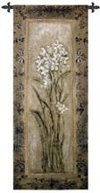 Paperwhite Ii By Mindeli - Woven Tapestry Wall Art Hanging For Home Living Room & Office Decor - Earth Tones With White Blooms Of The Narcissus Flower Flora Artwork - 100% Cotton - USA 53X22 Wall Tapestry