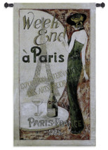 Exposition International | Woven Tapestry Wall Art Hanging | Paris France Vacation Poster Advertisement | 100% Cotton USA Size 53x30 Wall Tapestry