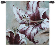 Blooming Lily | Woven Tapestry Wall Art Hanging | Large Impressionist Pink Flower Painting | 100% Cotton USA Size 44x44 Wall Tapestry