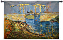 Langlois Bridge at Arles by Vincent van Gogh | Woven Tapestry Wall Art Hanging | Vibrant Post Impressionist River Drawbridge Masterpiece | 100% Cotton USA Size 53x37 Wall Tapestry