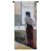 De Nice by Miguel Dominguez | Woven Tapestry Wall Art Hanging | Stylish Woman at Bar Lounge Decor | 100% Cotton USA Size 53x24 Wall Tapestry