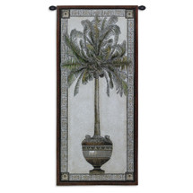 Old World Palm I | Woven Tapestry Wall Art Hanging | Tropical Tree in Ornate Decorative Urn | 100% Cotton USA Size 50x24 Wall Tapestry