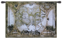 Tropic Of Capricorn | Woven Tapestry Wall Art Hanging | European Exploration Asia Atlas with Zebras | 100% Cotton USA Size 53x40 Wall Tapestry